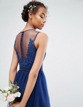 photo Embroidered Tulle Midi Dress with Button Back by Chi Chi London, color Navy - Image 3