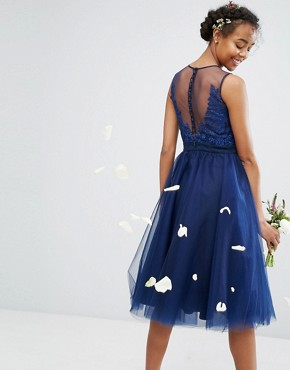 photo Embroidered Tulle Midi Dress with Button Back by Chi Chi London, color Navy - Image 1