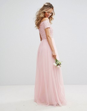 photo Bardot Maxi Dress with Delicate Sequin and Tulle Skirt by Maya, color Pink - Image 2