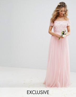 photo Bardot Maxi Dress with Delicate Sequin and Tulle Skirt by Maya, color Pink - Image 1