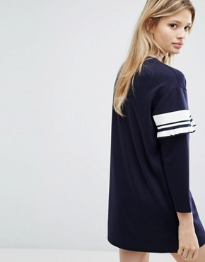 photo Dress with Stripe Frill Detail by Outstanding Ordinary, color Blue - Image 2