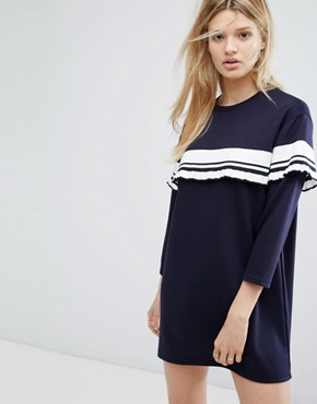 photo Dress with Stripe Frill Detail by Outstanding Ordinary, color Blue - Image 1