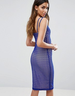 photo Multi Strap Bodycon Dress by Girls on Film, color Cobalt Blue - Image 2