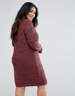 photo Mixed Knit Jumper Dress by Junarose, color Red - Image 2