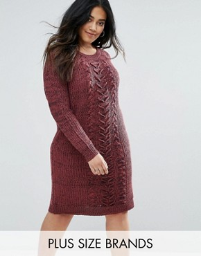 photo Mixed Knit Jumper Dress by Junarose, color Red - Image 1