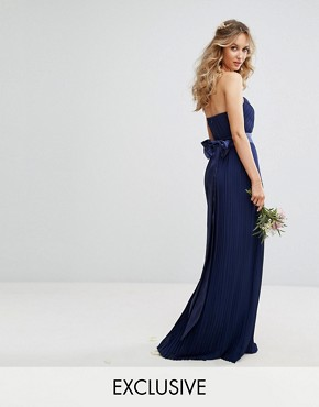 photo Bandeau Maxi Dress with Bow Back Detail by TFNC WEDDING, color Navy - Image 1