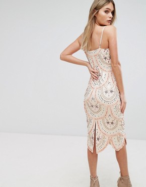 photo Cami Strap Midi Dress with All Over Embellishment by Starlet, color Nude - Image 2