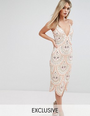 photo Cami Strap Midi Dress with All Over Embellishment by Starlet, color Nude - Image 1