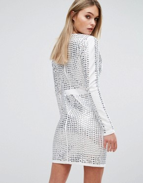 photo V-Front Mini Dress with All Over Studs by Starlet, color White/Irridescent - Image 2