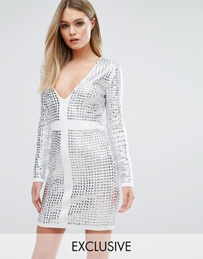 photo V-Front Mini Dress with All Over Studs by Starlet, color White/Irridescent - Image 1