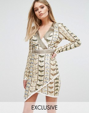photo Plunge Front Mini Dress with Wrap Skirt in All Over Embellishment by Starlet, color Gold - Image 1