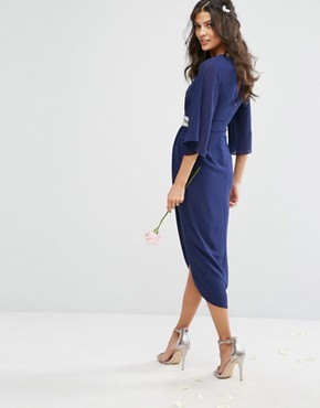 photo Kimono Sleeve Midi Dress with Wrap Skirt by TFNC WEDDING, color Navy - Image 2
