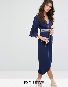 photo Kimono Sleeve Midi Dress with Wrap Skirt by TFNC WEDDING, color Navy - Image 1