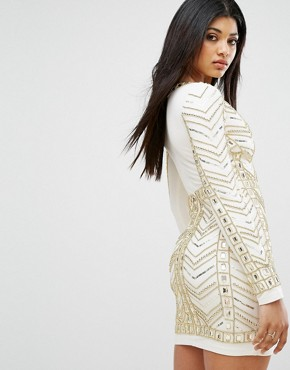 photo Plunge Front Mini Dress with All Over Embellishment in Gold by Starlet, color White/Gold - Image 2
