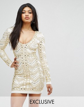 photo Plunge Front Mini Dress with All Over Embellishment in Gold by Starlet, color White/Gold - Image 1