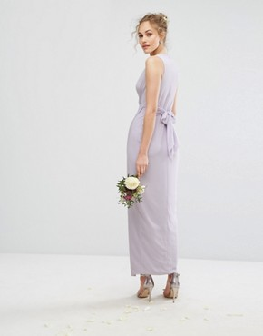 photo Wrap Maxi Dress by TFNC WEDDING, color Lilac Lustre - Image 2