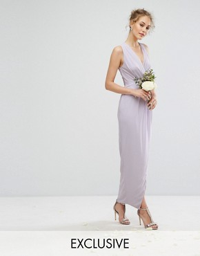 photo Wrap Maxi Dress by TFNC WEDDING, color Lilac Lustre - Image 1