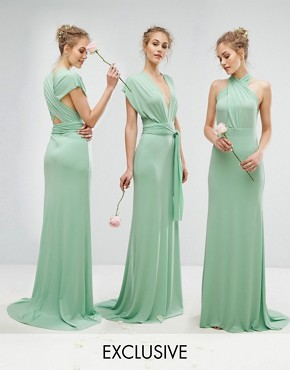photo Multiway Maxi Dress by TFNC WEDDING, color Sage Green - Image 1