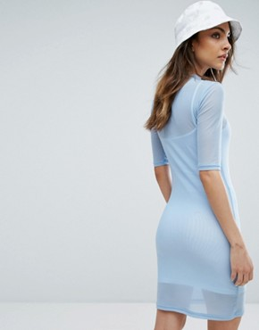 photo Double Layer Mesh Mini Dress by Fila, color Light Blue - Image 2