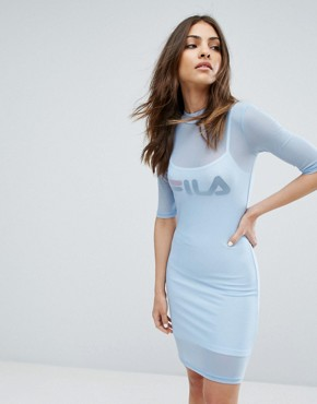 photo Double Layer Mesh Mini Dress by Fila, color Light Blue - Image 1