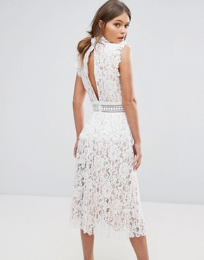 photo Lace Dress with Ruffle Neck by True Decadence, color White - Image 2