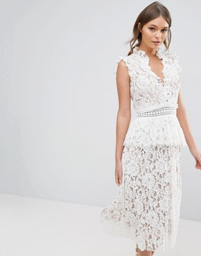 photo Lace Dress with Ruffle Neck by True Decadence, color White - Image 1