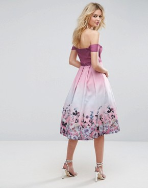 photo Floral Ombre Midi Prom Dress by ASOS TALL SALON, color Pink - Image 2