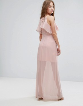 photo Pink Frilled Maxi Dress by BCBGeneration, color Rose Smoke - Image 2
