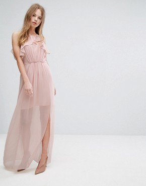photo Pink Frilled Maxi Dress by BCBGeneration, color Rose Smoke - Image 1