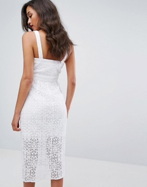 photo Lace Midi Dress by BCBGeneration, color Optic White - Image 2