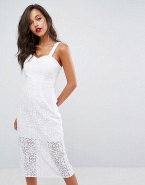 photo Lace Midi Dress by BCBGeneration, color Optic White - Image 1