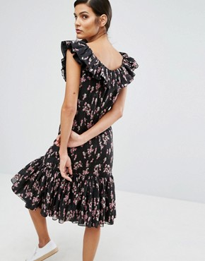 photo Flower Print Dress by Sonia by Sonia Rykiel, color Black - Image 2