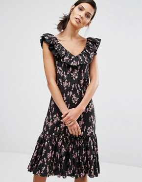 photo Flower Print Dress by Sonia by Sonia Rykiel, color Black - Image 1