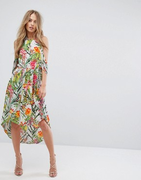 photo Lianna Hi-Low Printed Cold Shoulder Dress by Adelyn Rae, color White/Green - Image 1