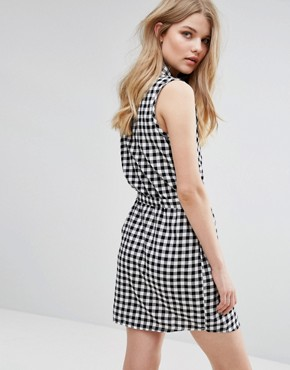 photo Gingham Shirt Dress with Tie Belt by JDY, color Cloud Dancer - Image 2