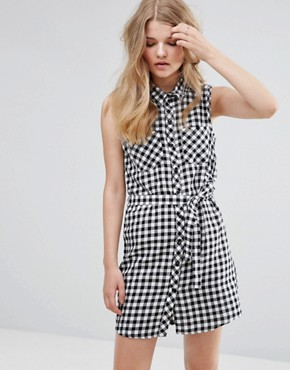 photo Gingham Shirt Dress with Tie Belt by JDY, color Cloud Dancer - Image 1