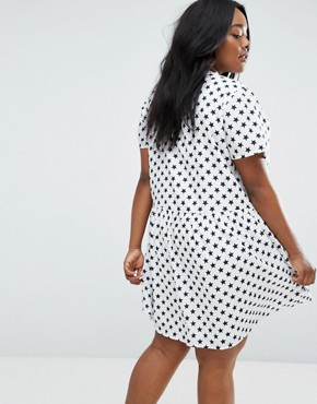 photo Star Print Smock Dress by Daisy Street Plus, color Multi - Image 2