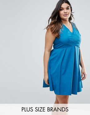 photo Gathered Crossover Dress by Little Mistress Plus, color Teal - Image 1
