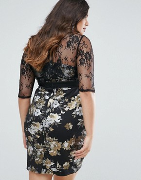 photo Floral Pencil Dress with Mesh Sleeves by Little Mistress Plus, color Black - Image 2