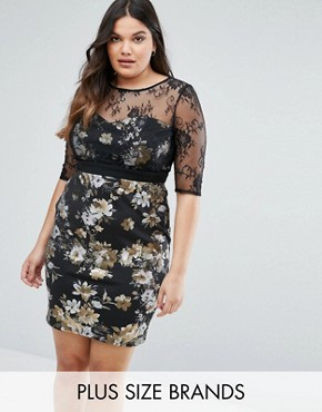 photo Floral Pencil Dress with Mesh Sleeves by Little Mistress Plus, color Black - Image 1