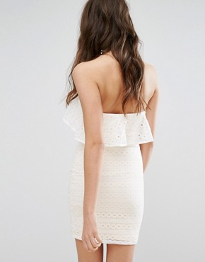 photo Lace Bandeau Mini Dress by Miss Selfridge, color White - Image 2