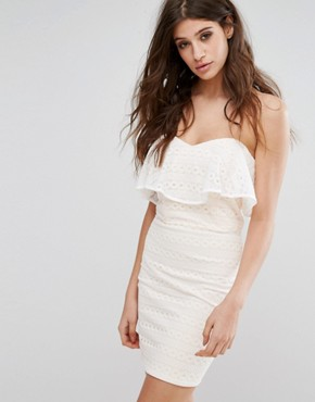 photo Lace Bandeau Mini Dress by Miss Selfridge, color White - Image 1