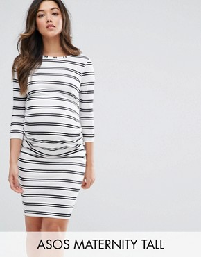 photo Twin Stripe Bodycon Dress by ASOS Maternity TALL, color White/Black - Image 1