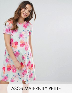 photo Photographic Floral Swing Dress by ASOS Maternity PETITE, color Mint - Image 1