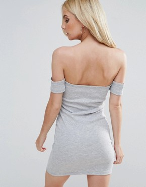 photo Bardot Bodycon Mini Dress by ASOS PETITE, color Grey Marl - Image 2
