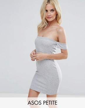 photo Bardot Bodycon Mini Dress by ASOS PETITE, color Grey Marl - Image 1