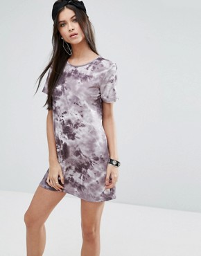 photo T-Shirt Dress in Tie-Dye with Ladder Back by ASOS PETITE, color Grey - Image 2