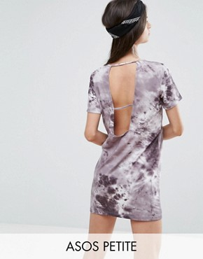 photo T-Shirt Dress in Tie-Dye with Ladder Back by ASOS PETITE, color Grey - Image 1