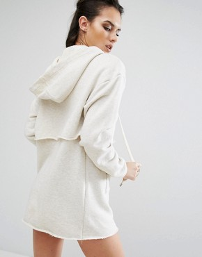 photo Long Sleeve Sweatshirt Dress by Kendall + Kylie, color Oatmeal - Image 2