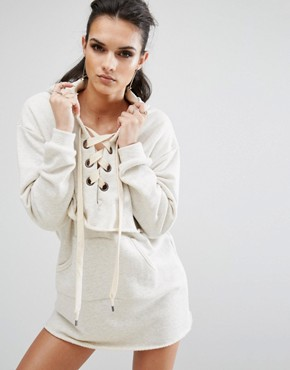 photo Long Sleeve Sweatshirt Dress by Kendall + Kylie, color Oatmeal - Image 1
